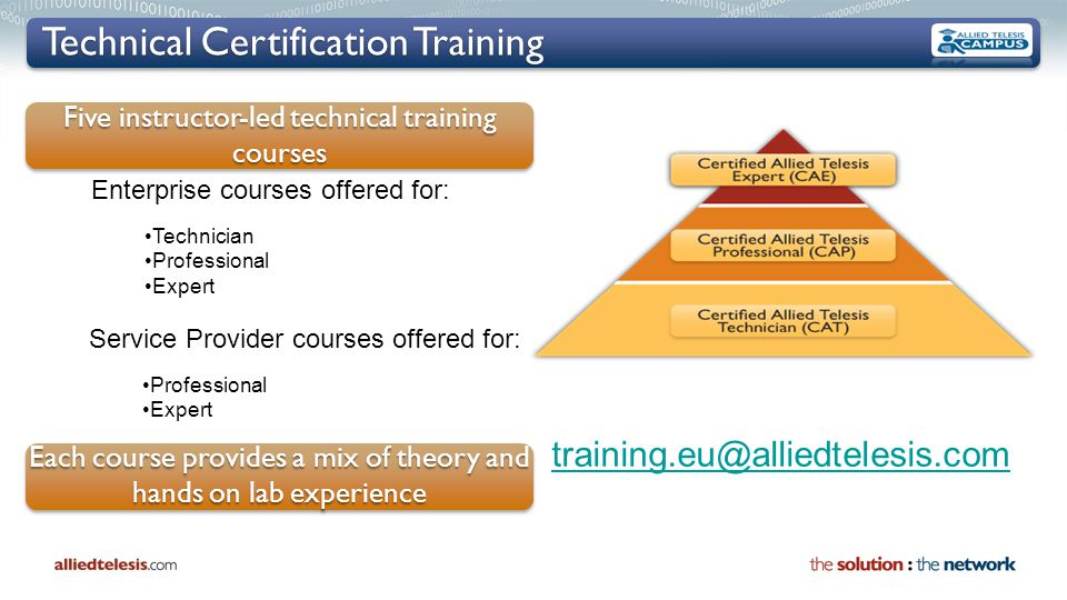 Technical Certification Training training.eu@alliedtelesis.com Enterprise courses offered for: Technician Professional Expert Service Provider courses offered for: Professional Expert Five instructor-led technical training courses Each course provides a mix of theory and hands on lab experience