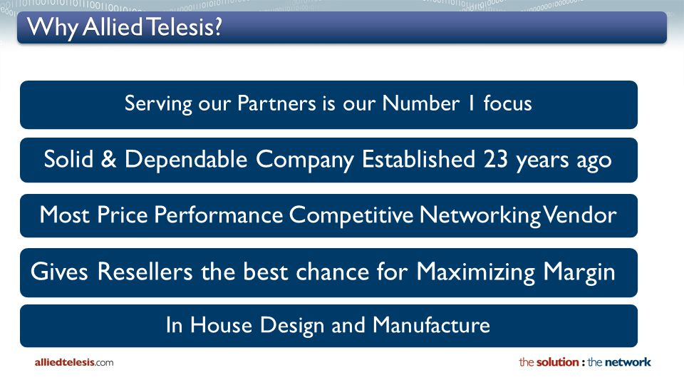 Why Allied Telesis? Serving our Partners is our Number 1 focus Solid & Dependable Company Established 23 years ago Most Price Performance Competitive