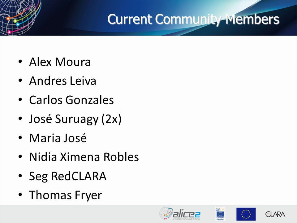 Current Community Members Alex Moura Andres Leiva Carlos Gonzales José Suruagy (2x) Maria José Nidia Ximena Robles Seg RedCLARA Thomas Fryer