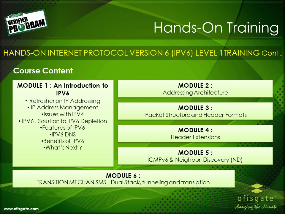 Hands-On Training www.ofisgate.com HANDS-ON INTERNET PROTOCOL VERSION 6 (IPV6) LEVEL 1TRAINING Cont..