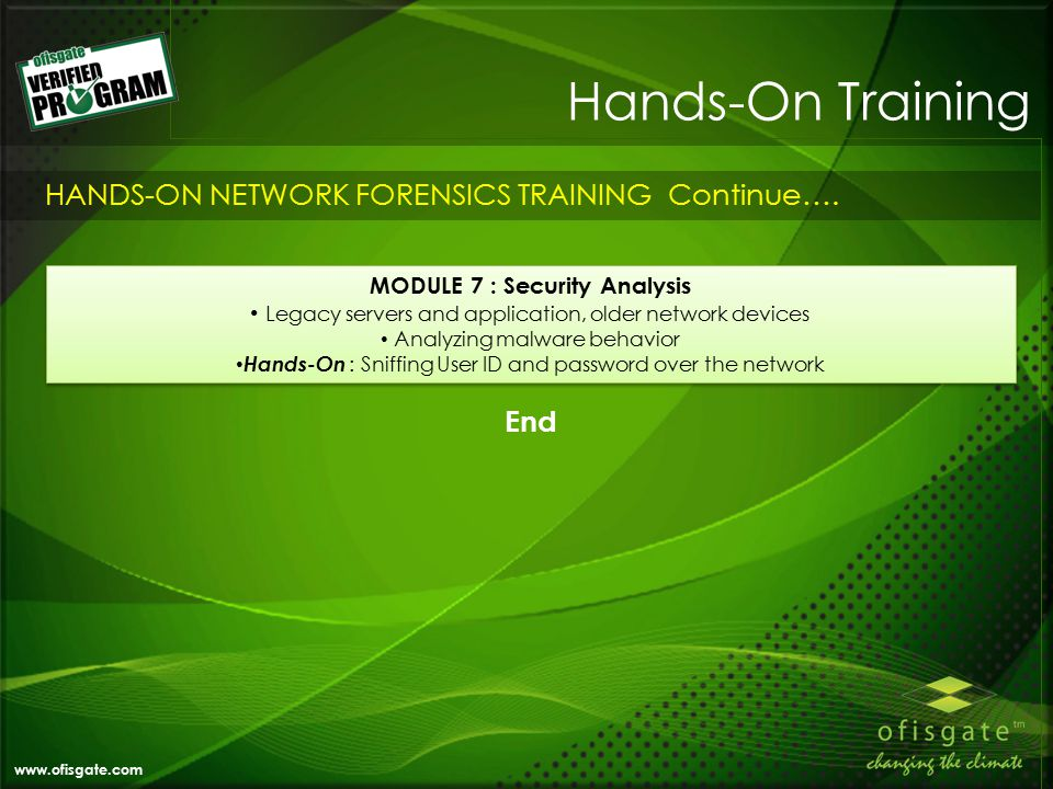 Hands-On Training www.ofisgate.com HANDS-ON NETWORK FORENSICS TRAINING Continue….