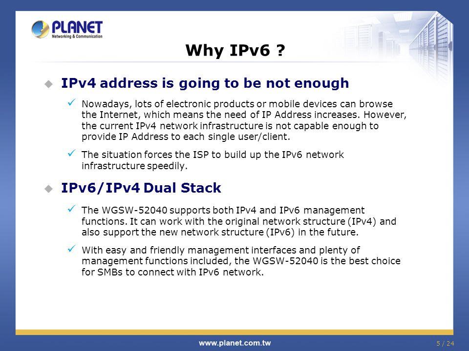 5 / 24 Why IPv6 .