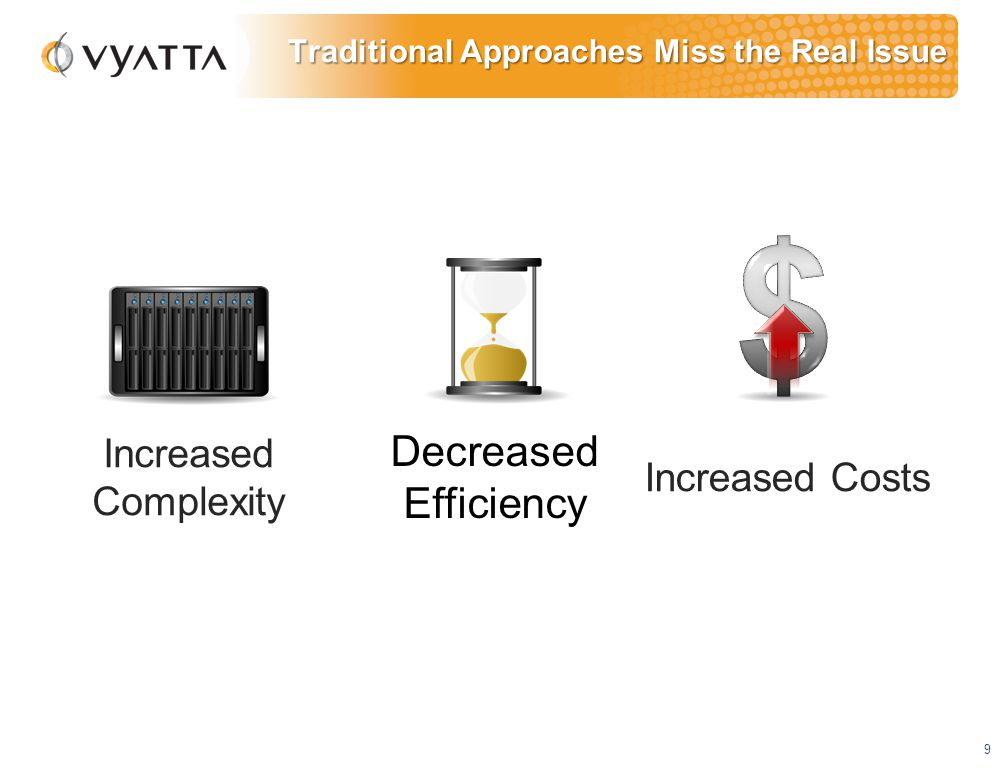 9 Traditional Approaches Miss the Real Issue Decreased Efficiency Increased Costs Increased Complexity