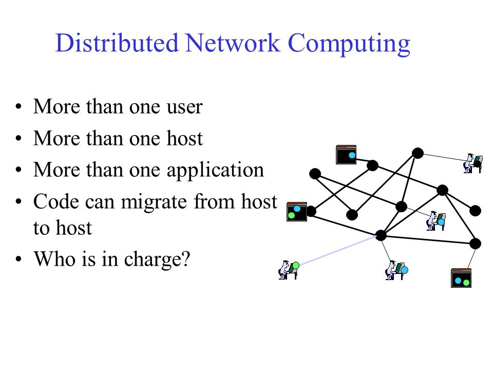 Distributed Network Computing More than one user More than one host More than one application Code can migrate from host to host Who is in charge?