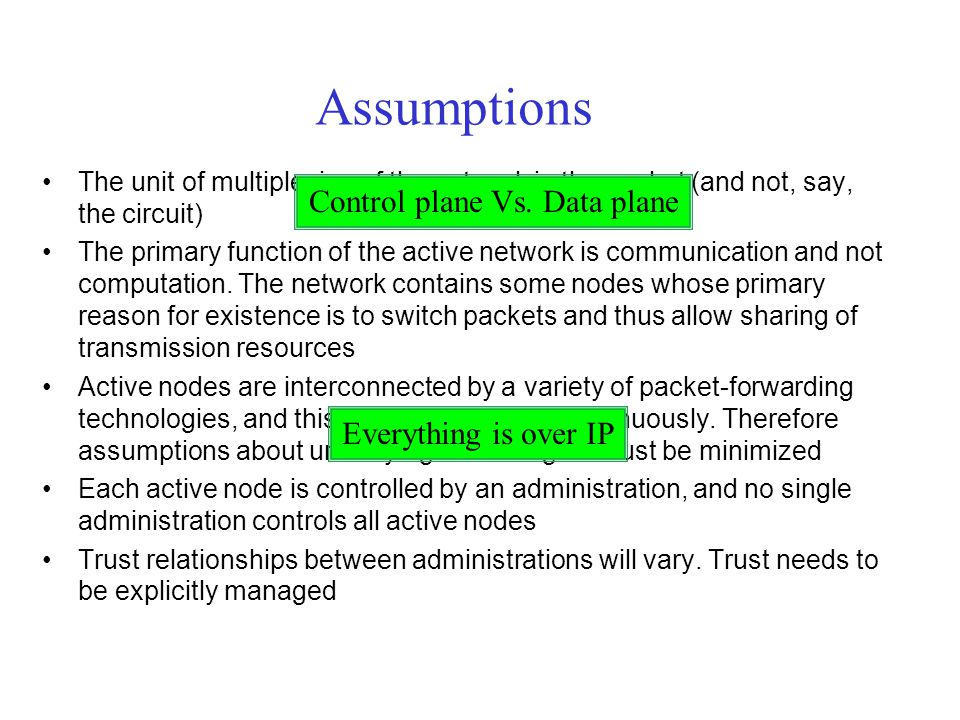 Assumptions The unit of multiplexing of the network is the packet (and not, say, the circuit) The primary function of the active network is communicat