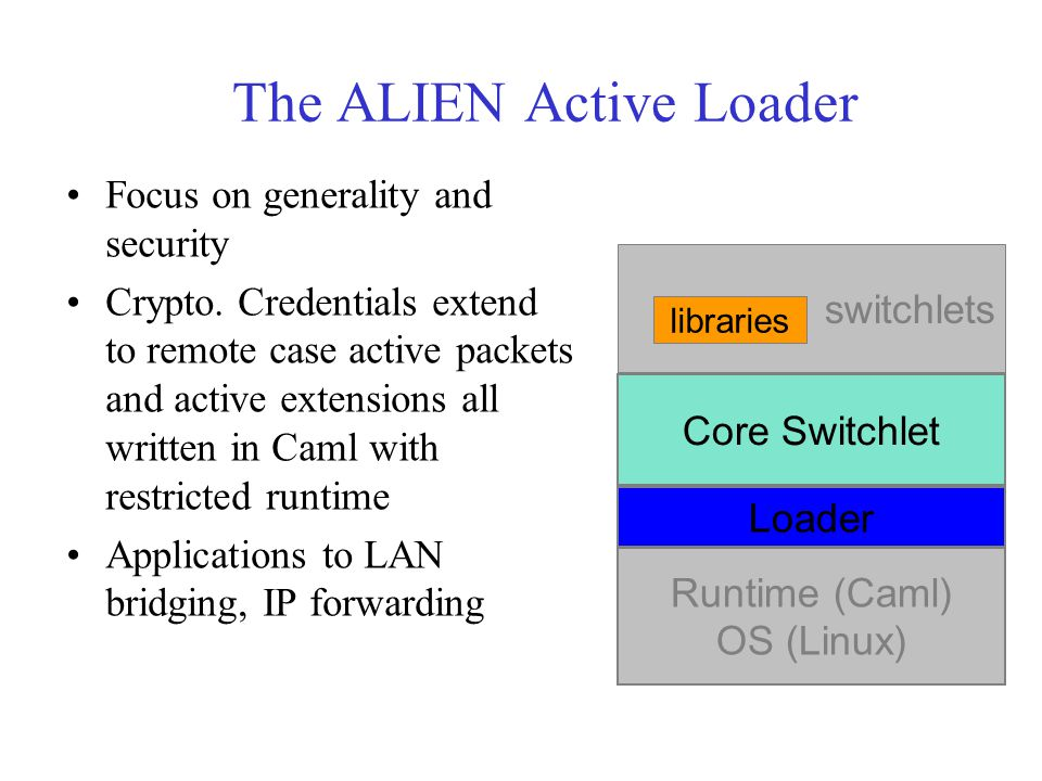 The ALIEN Active Loader Focus on generality and security Crypto. Credentials extend to remote case active packets and active extensions all written in
