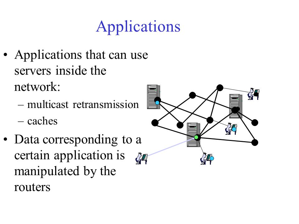 Applications Applications that can use servers inside the network: –multicast retransmission –caches Data corresponding to a certain application is manipulated by the routers