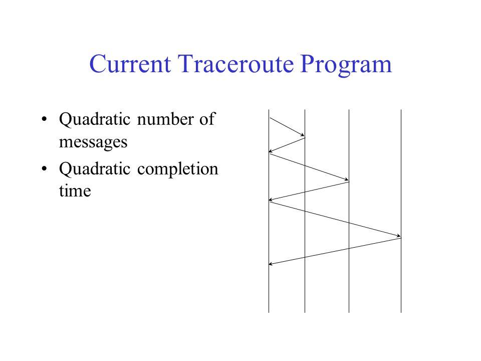 Current Traceroute Program Quadratic number of messages Quadratic completion time