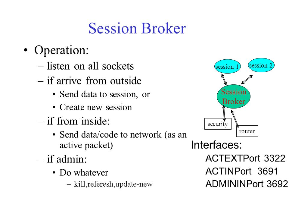 Session Broker Operation: –listen on all sockets –if arrive from outside Send data to session, or Create new session –if from inside: Send data/code to network (as an active packet) –if admin: Do whatever –kill,referesh,update-new Session Broker session 1 session 2 security router Interfaces: ACTEXTPort 3322 ACTINPort 3691 ADMININPort 3692