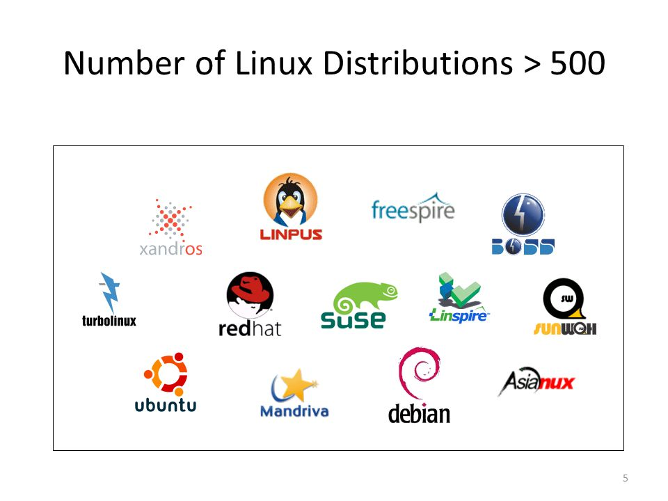 5 Number of Linux Distributions > 500