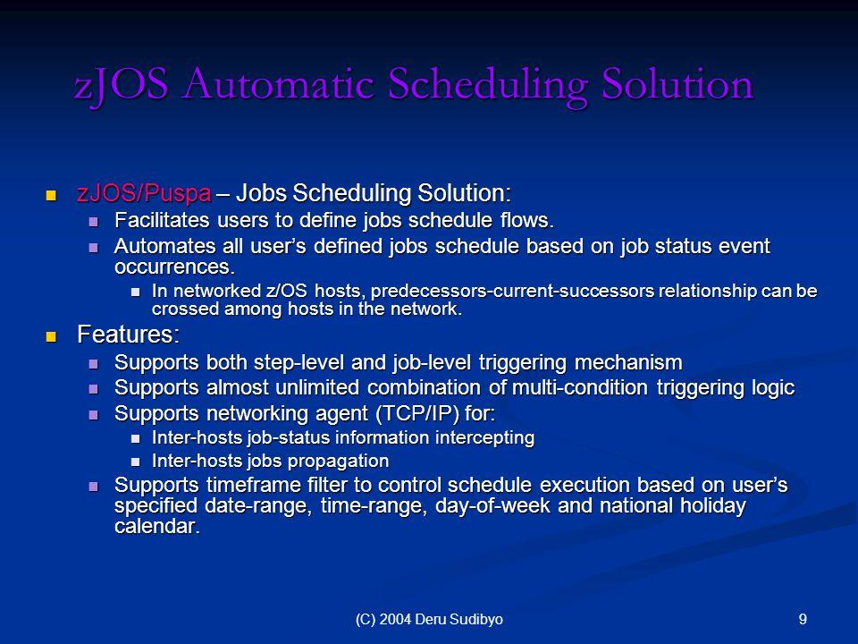 10(C) 2004 Deru Sudibyo zJOS/Puspa - Ultimate Scheduler Workload pipelining – the most efficient workload managemet.