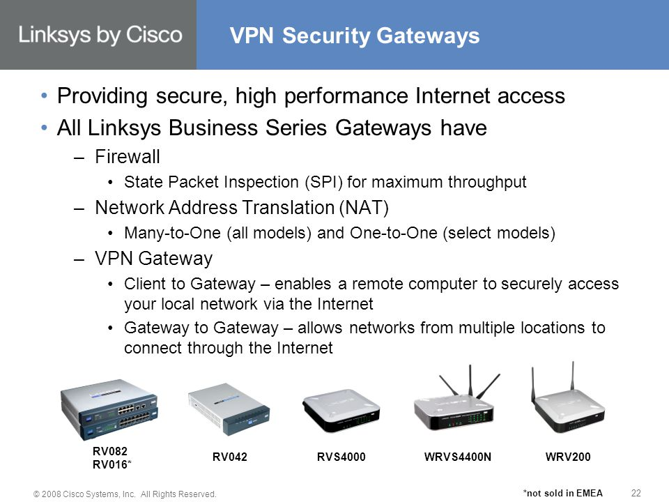 © 2008 Cisco Systems, Inc. All Rights Reserved. 22 Providing secure, high performance Internet access All Linksys Business Series Gateways have –Firew