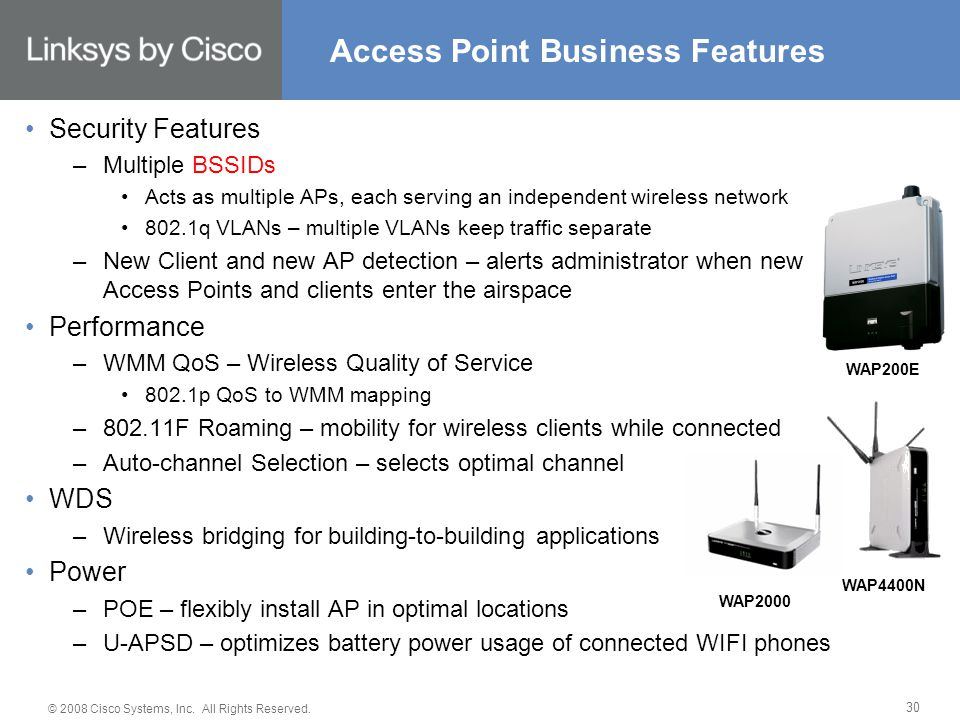 © 2008 Cisco Systems, Inc. All Rights Reserved. 30 Access Point Business Features Security Features –Multiple BSSIDs Acts as multiple APs, each servin
