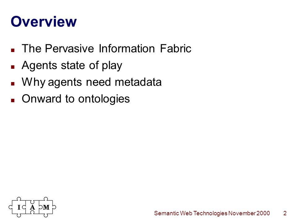 Semantic Web Technologies November 20002 Overview The Pervasive Information Fabric Agents state of play Why agents need metadata Onward to ontologies