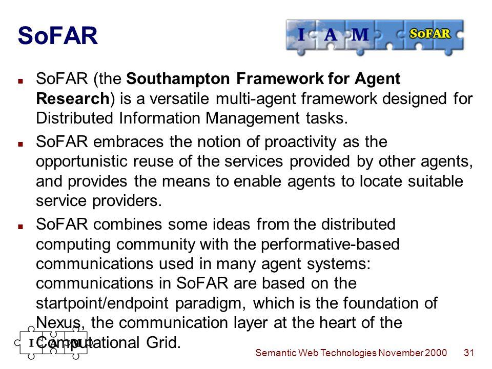 Semantic Web Technologies November 200031 SoFAR SoFAR (the Southampton Framework for Agent Research) is a versatile multi-agent framework designed for