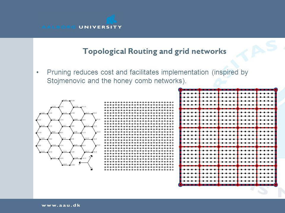 Topological Routing and grid networks Pruning reduces cost and facilitates implementation (inspired by Stojmenovic and the honey comb networks).