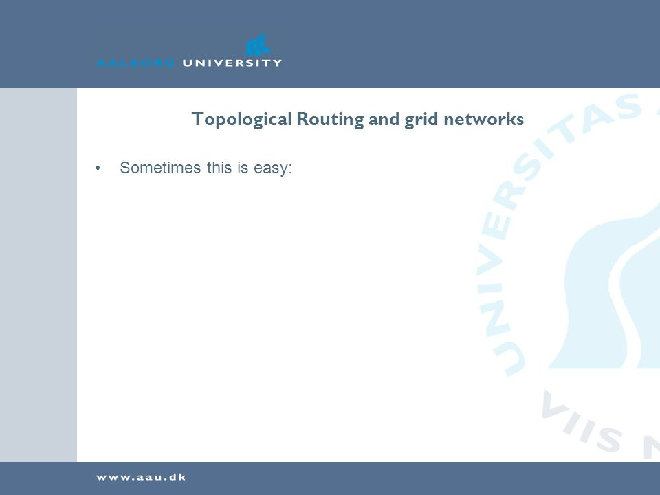 Topological Routing and grid networks Sometimes this is easy: