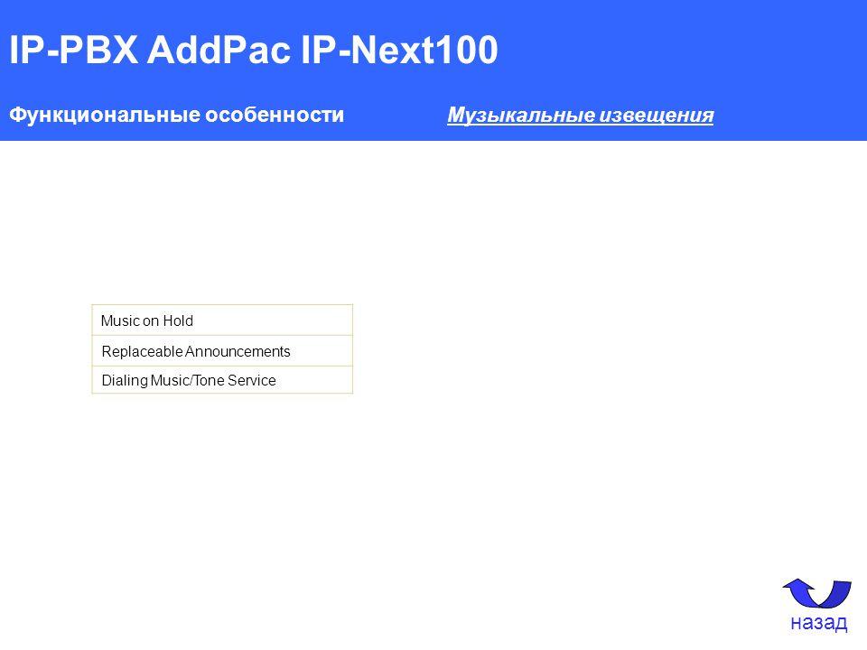 IP-PBX AddPac IP-Next100 Функциональные особенности Музыкальные извещения Music on Hold Replaceable Announcements Dialing Music/Tone Service назад