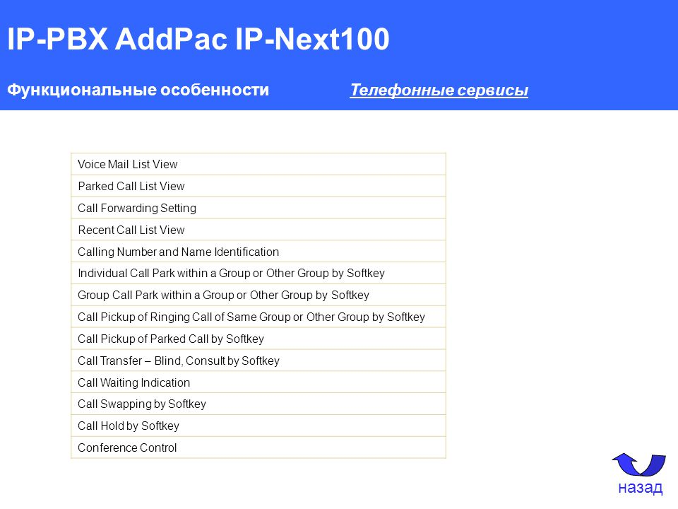 IP-PBX AddPac IP-Next100 Функциональные особенности Телефонные сервисы Voice Mail List View Parked Call List View Call Forwarding Setting Recent Call List View Calling Number and Name Identification Individual Call Park within a Group or Other Group by Softkey Group Call Park within a Group or Other Group by Softkey Call Pickup of Ringing Call of Same Group or Other Group by Softkey Call Pickup of Parked Call by Softkey Call Transfer – Blind, Consult by Softkey Call Waiting Indication Call Swapping by Softkey Call Hold by Softkey Conference Control назад