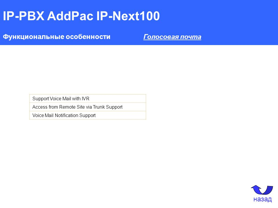 IP-PBX AddPac IP-Next100 Функциональные особенности Голосовая почта Support Voice Mail with IVR Access from Remote Site via Trunk Support Voice Mail Notification Support назад