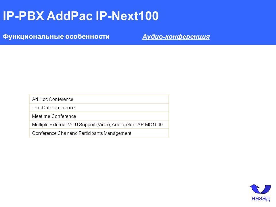 IP-PBX AddPac IP-Next100 Функциональные особенности Аудио-конференция Ad-Hoc Conference Dial-Out Conference Meet-me Conference Multiple External MCU S