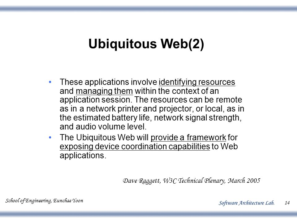 School of Engineering, Eunchae Yoon 14 Ubiquitous Web(2) These applications involve identifying resources and managing them within the context of an a