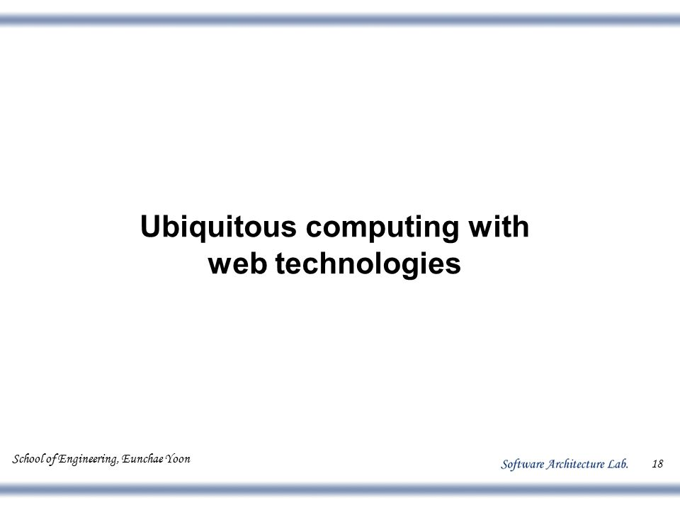 School of Engineering, Eunchae Yoon 18 Ubiquitous computing with web technologies