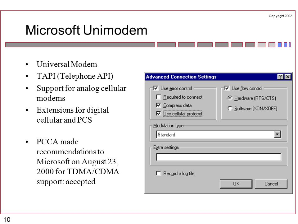 Copyright 2002 10 Microsoft Unimodem Universal Modem TAPI (Telephone API) Support for analog cellular modems Extensions for digital cellular and PCS PCCA made recommendations to Microsoft on August 23, 2000 for TDMA/CDMA support: accepted