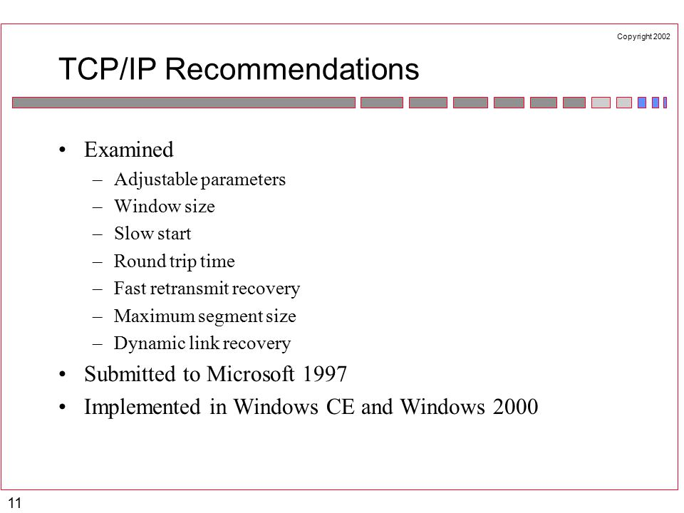 Copyright 2002 11 TCP/IP Recommendations Examined –Adjustable parameters –Window size –Slow start –Round trip time –Fast retransmit recovery –Maximum segment size –Dynamic link recovery Submitted to Microsoft 1997 Implemented in Windows CE and Windows 2000