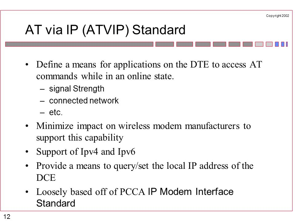 Copyright 2002 12 AT via IP (ATVIP) Standard Define a means for applications on the DTE to access AT commands while in an online state.