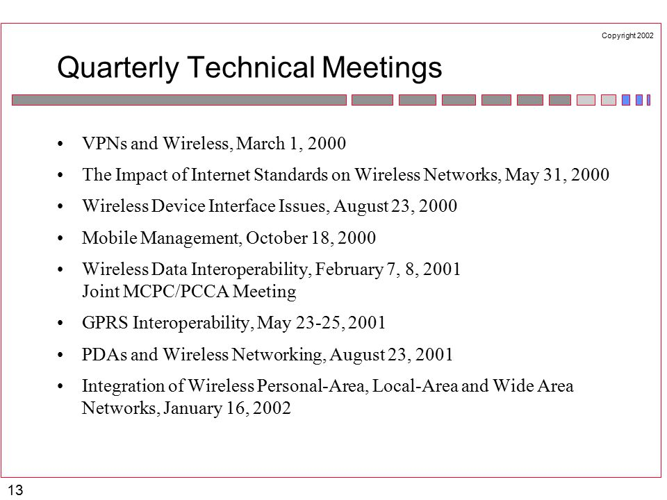 Copyright 2002 13 Quarterly Technical Meetings VPNs and Wireless, March 1, 2000 The Impact of Internet Standards on Wireless Networks, May 31, 2000 Wireless Device Interface Issues, August 23, 2000 Mobile Management, October 18, 2000 Wireless Data Interoperability, February 7, 8, 2001 Joint MCPC/PCCA Meeting GPRS Interoperability, May 23-25, 2001 PDAs and Wireless Networking, August 23, 2001 Integration of Wireless Personal-Area, Local-Area and Wide Area Networks, January 16, 2002