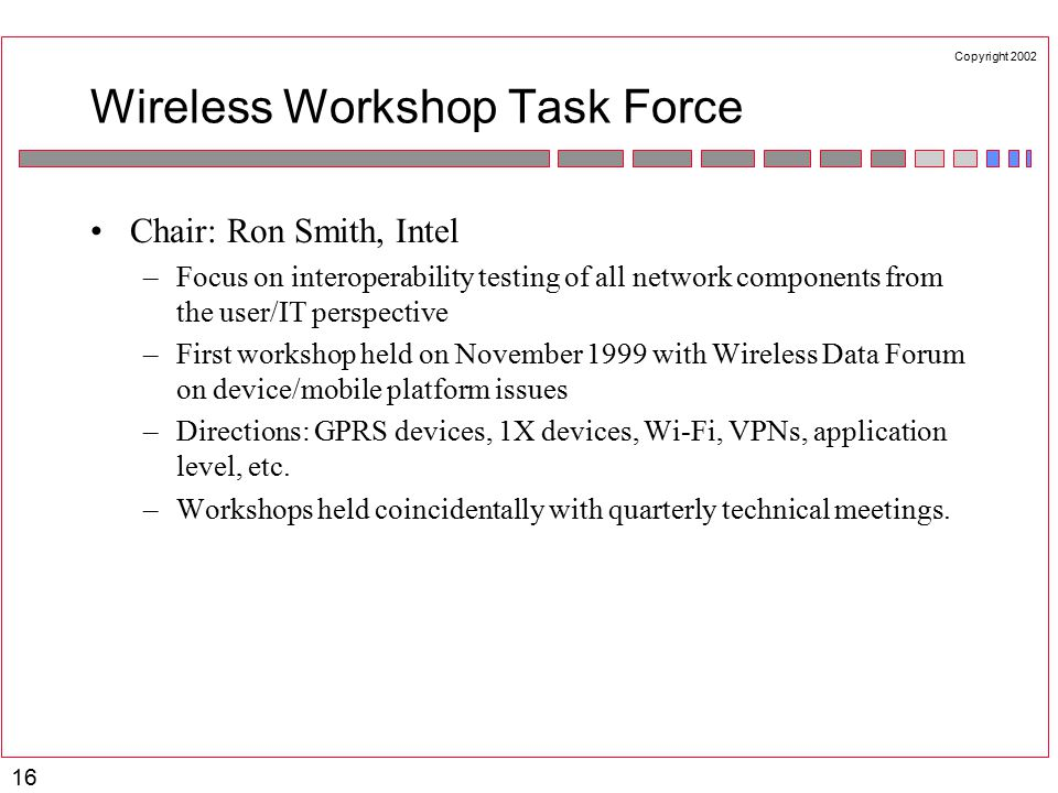 Copyright 2002 16 Wireless Workshop Task Force Chair: Ron Smith, Intel –Focus on interoperability testing of all network components from the user/IT perspective –First workshop held on November 1999 with Wireless Data Forum on device/mobile platform issues –Directions: GPRS devices, 1X devices, Wi-Fi, VPNs, application level, etc.