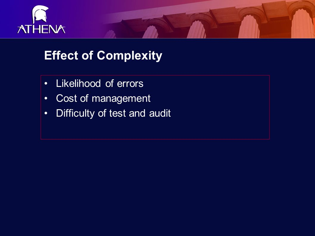 Effect of Complexity Likelihood of errors Cost of management Difficulty of test and audit