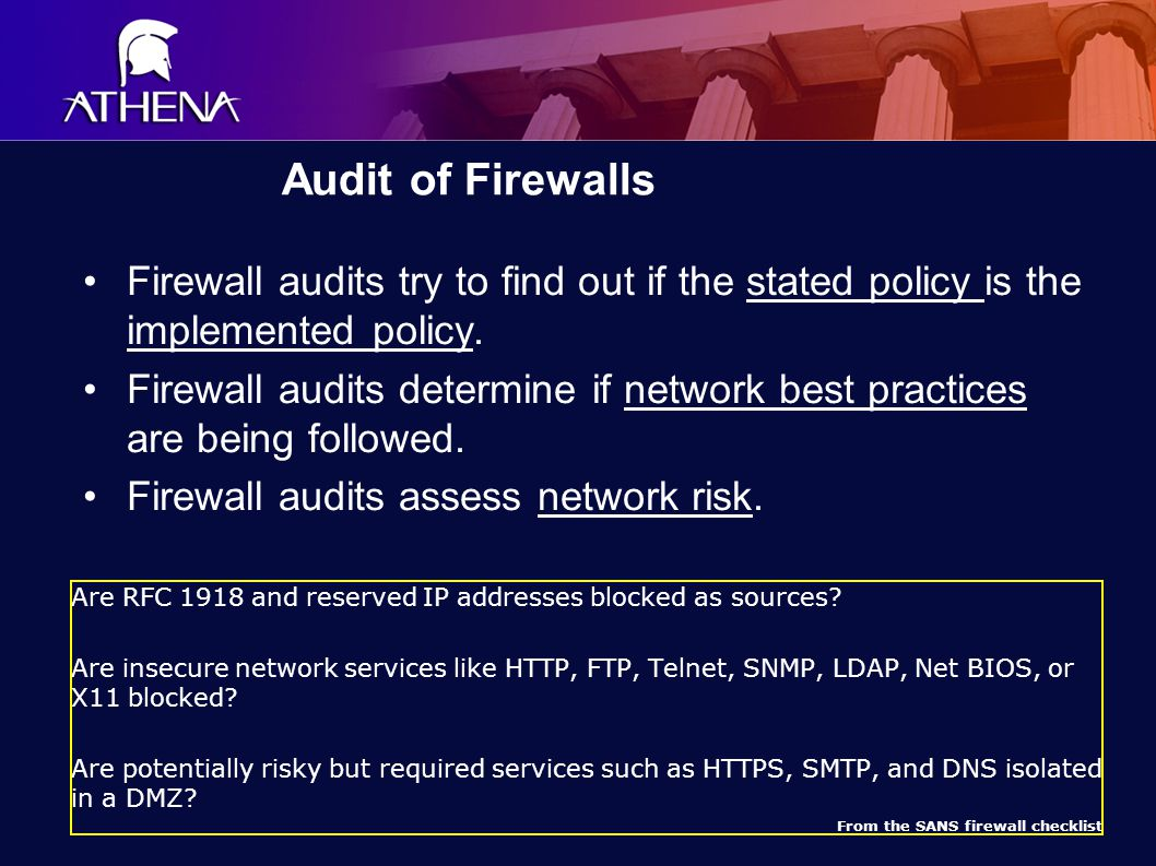 Audit of Firewalls Firewall audits try to find out if the stated policy is the implemented policy.