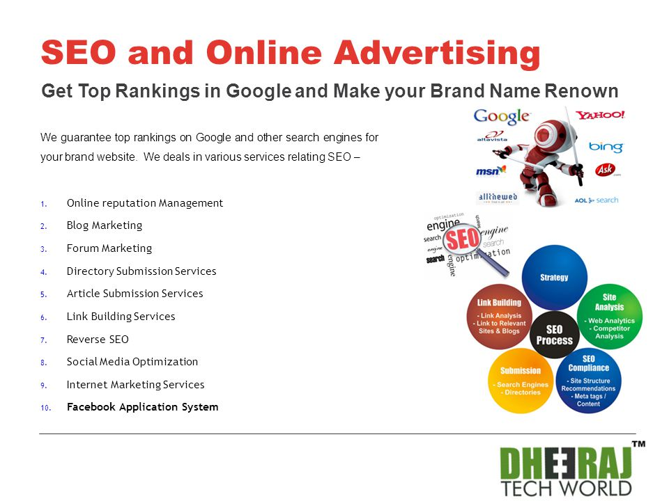 We guarantee top rankings on Google and other search engines for your brand website. We deals in various services relating SEO – 1. Online reputation