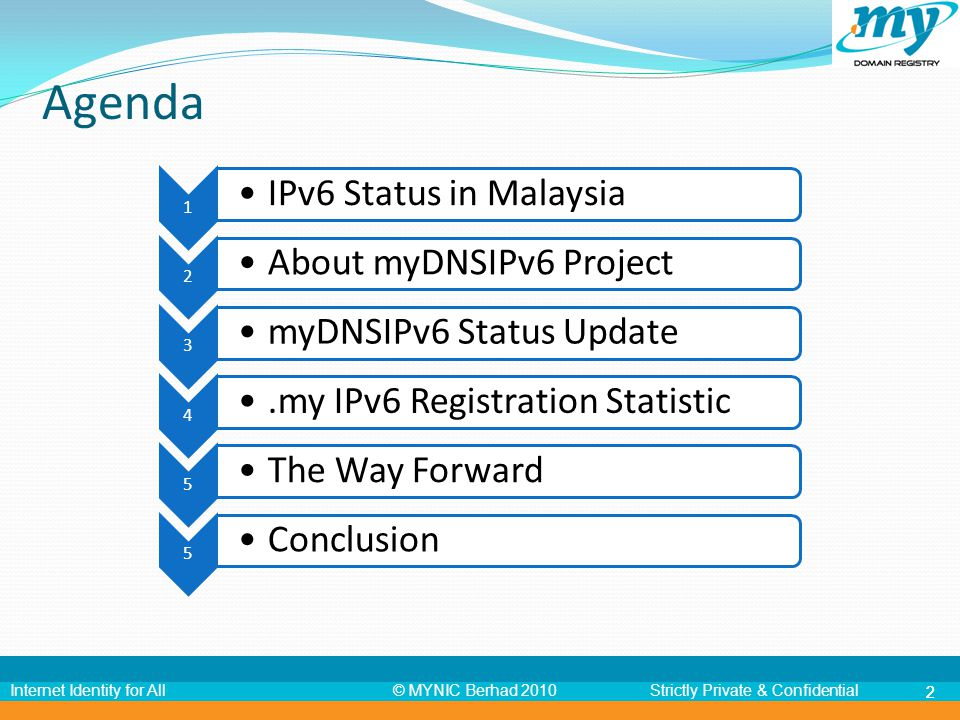 © MYNIC Berhad 2010Strictly Private & ConfidentialInternet Identity for All 22 Agenda 1 IPv6 Status in Malaysia 2 About myDNSIPv6 Project 3 myDNSIPv6