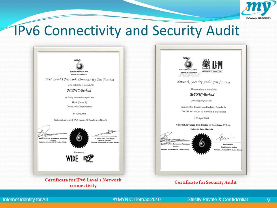 © MYNIC Berhad 2010Strictly Private & ConfidentialInternet Identity for All 9 Certificate for IPv6 Level 1 Network connectivity Certificate for Securi