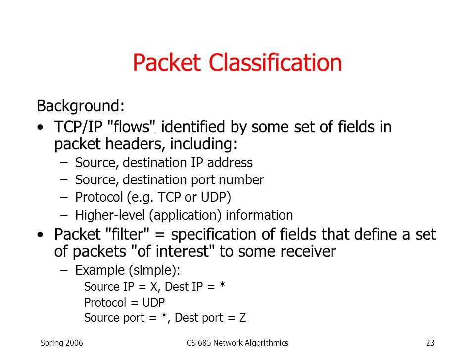 Spring 2006CS 685 Network Algorithmics23 Packet Classification Background: TCP/IP flows identified by some set of fields in packet headers, including: –Source, destination IP address –Source, destination port number –Protocol (e.g.