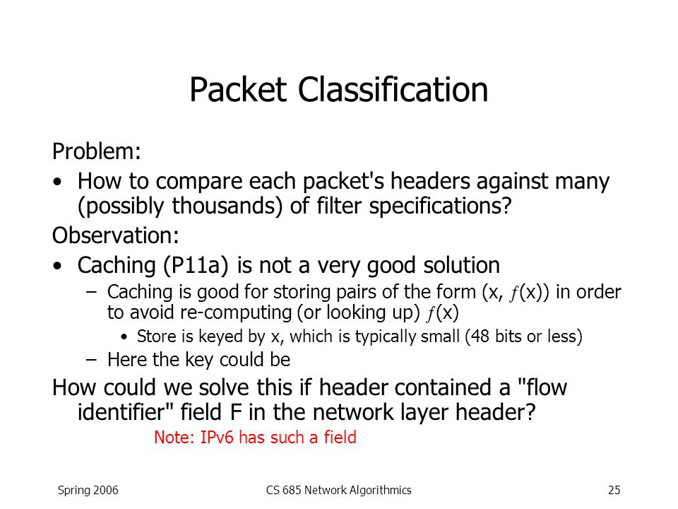 Spring 2006CS 685 Network Algorithmics25 Packet Classification Problem: How to compare each packet's headers against many (possibly thousands) of filt