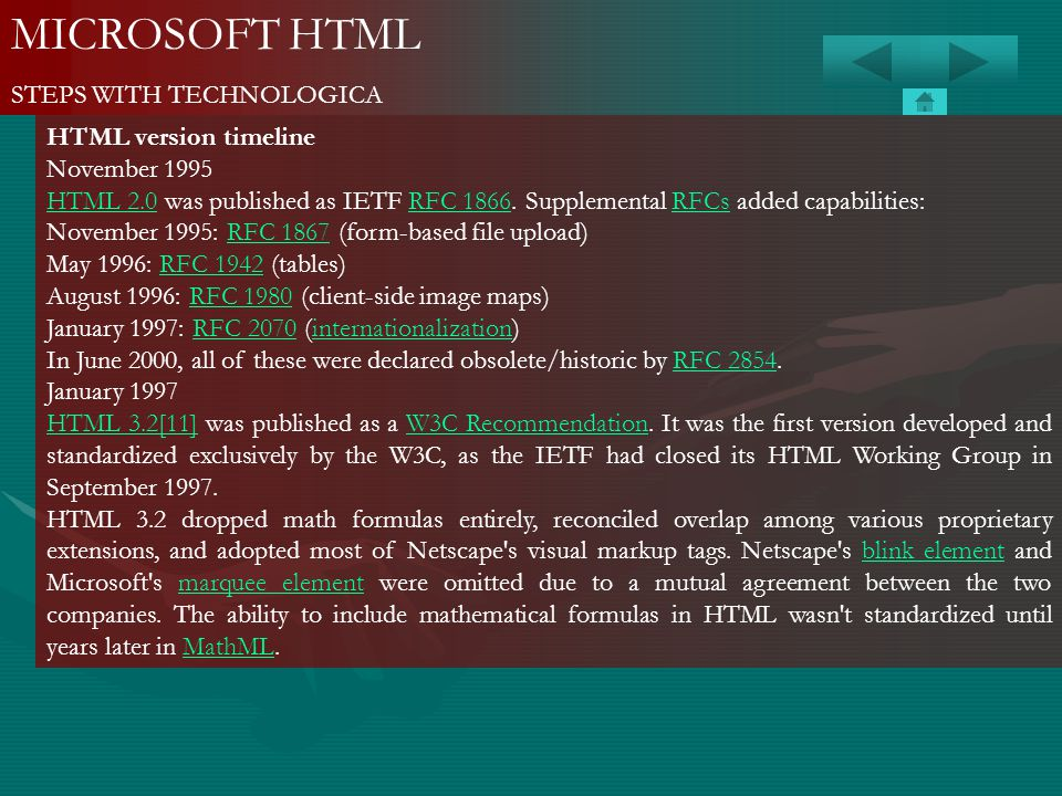 MICROSOFT HTML STEPS WITH TECHNOLOGICA HTML version timeline November 1995 HTML 2.0HTML 2.0 was published as IETF RFC 1866. Supplemental RFCs added ca