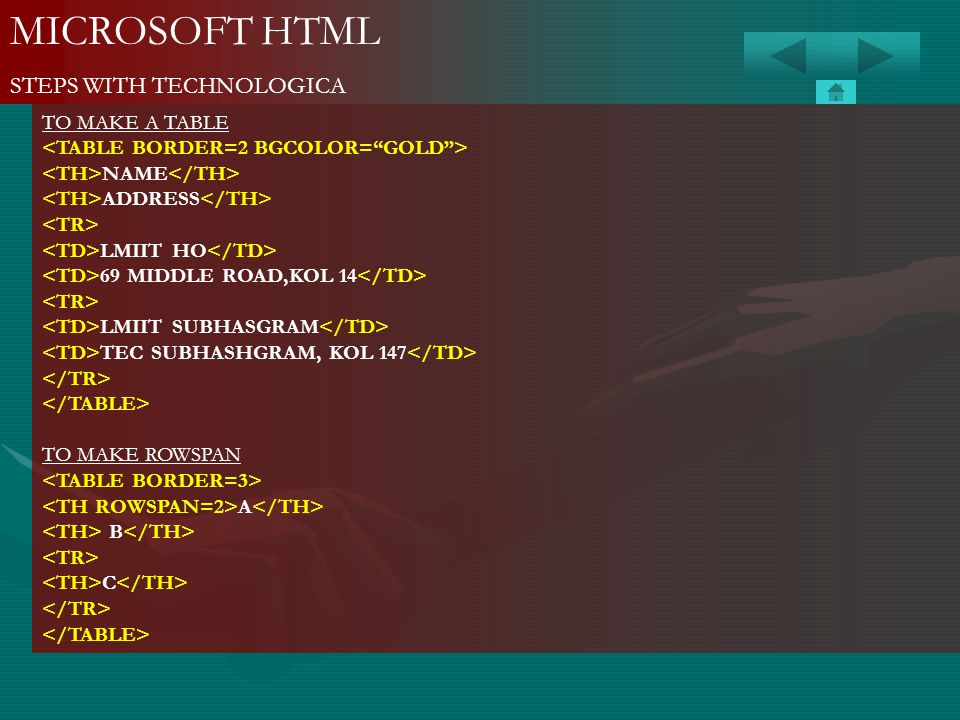 MICROSOFT HTML STEPS WITH TECHNOLOGICA TO MAKE A TABLE NAME ADDRESS LMIIT HO 69 MIDDLE ROAD,KOL 14 LMIIT SUBHASGRAM TEC SUBHASHGRAM, KOL 147 TO MAKE R