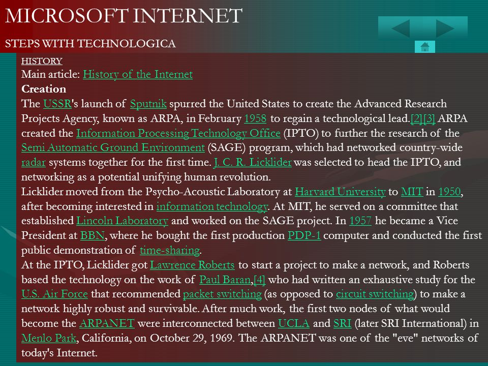 MICROSOFT INTERNET STEPS WITH TECHNOLOGICA HISTORY Main article: History of the InternetHistory of the Internet Creation The USSR's launch of Sputnik