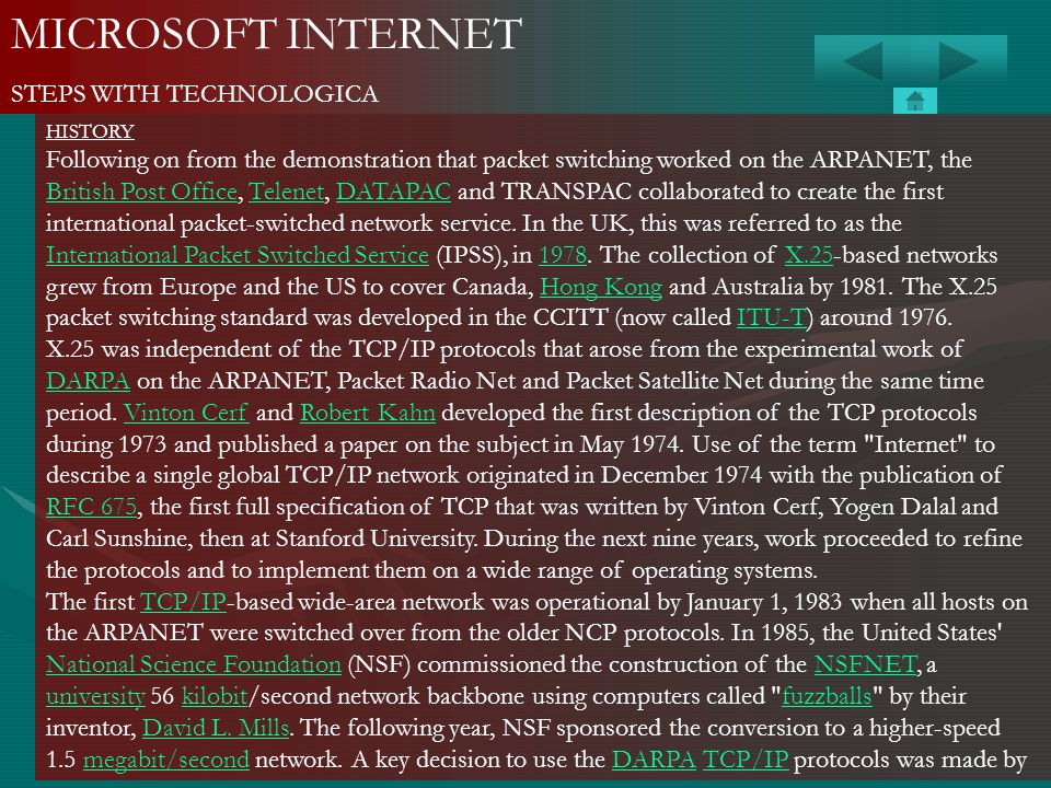 MICROSOFT INTERNET STEPS WITH TECHNOLOGICA HISTORY Following on from the demonstration that packet switching worked on the ARPANET, the British Post O
