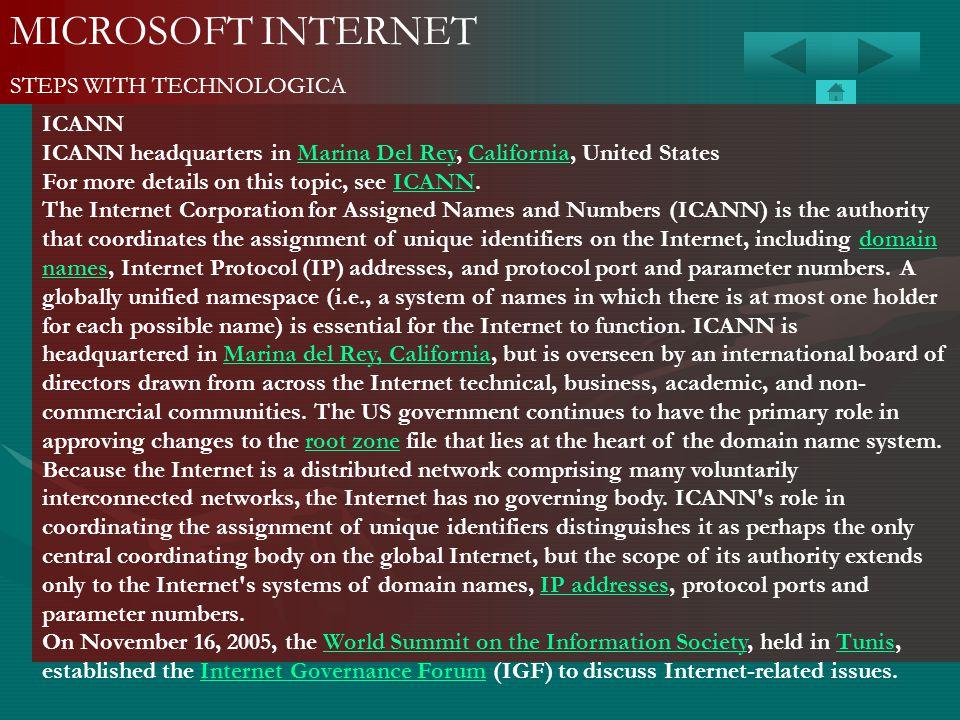 MICROSOFT INTERNET STEPS WITH TECHNOLOGICA ICANN ICANN headquarters in Marina Del Rey, California, United StatesMarina Del ReyCalifornia For more deta