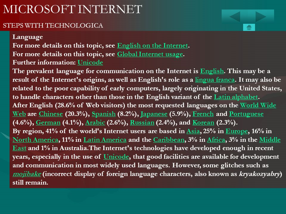 MICROSOFT INTERNET STEPS WITH TECHNOLOGICA Language For more details on this topic, see English on the Internet.English on the Internet For more detai