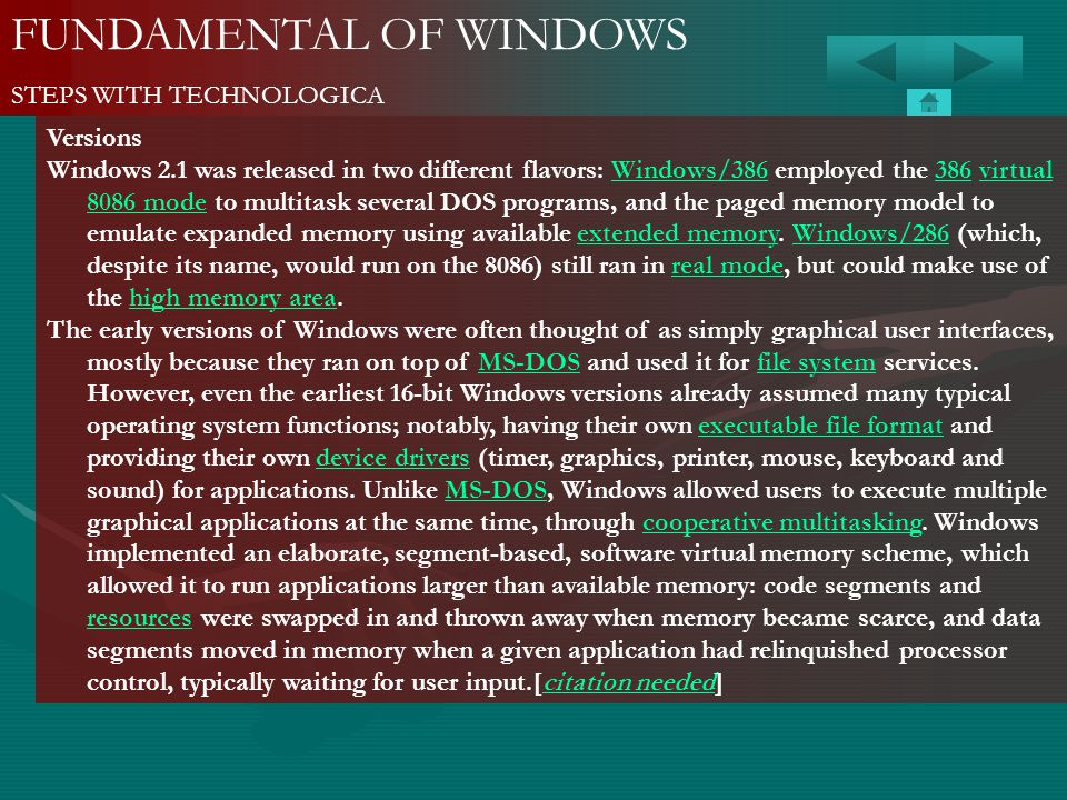 FUNDAMENTAL OF WINDOWS STEPS WITH TECHNOLOGICA Versions Windows 2.1 was released in two different flavors: Windows/386 employed the 386 virtual 8086 m