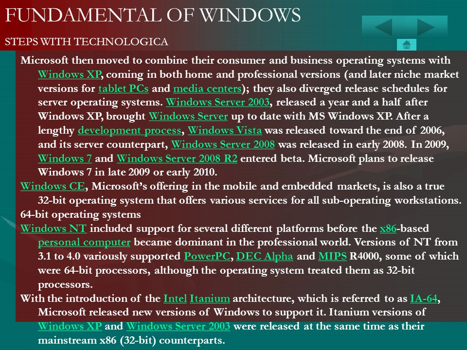 FUNDAMENTAL OF WINDOWS STEPS WITH TECHNOLOGICA Microsoft then moved to combine their consumer and business operating systems with Windows XP, coming i