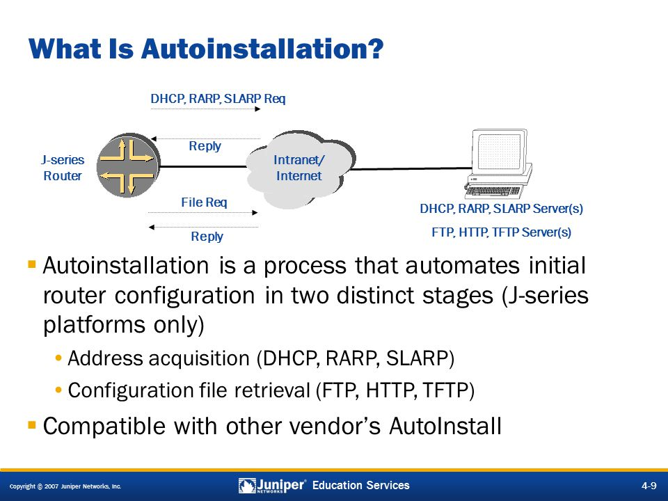 Copyright © 2007 Juniper Networks, Inc. 4-9 Education Services What Is Autoinstallation.