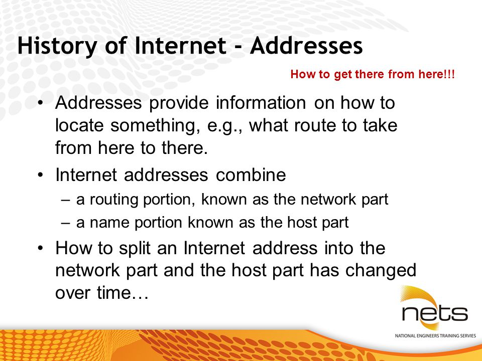 History of Internet - Addresses Addresses provide information on how to locate something, e.g., what route to take from here to there.