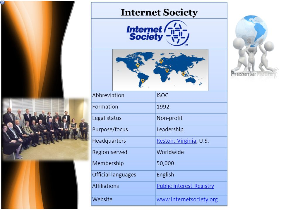 The Internet Society (ISOC) is an international, non-profit organization founded in 1992 to provide leadership for Internet policy, technology standards, and future development.